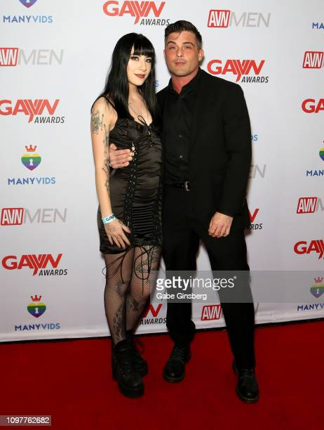 Adult film actors Charlotte Sartre and Lance Hart attend the 2019 GayVN Awards show at The Joint inside the Hard Rock Hotel Casino on January 21 2019...