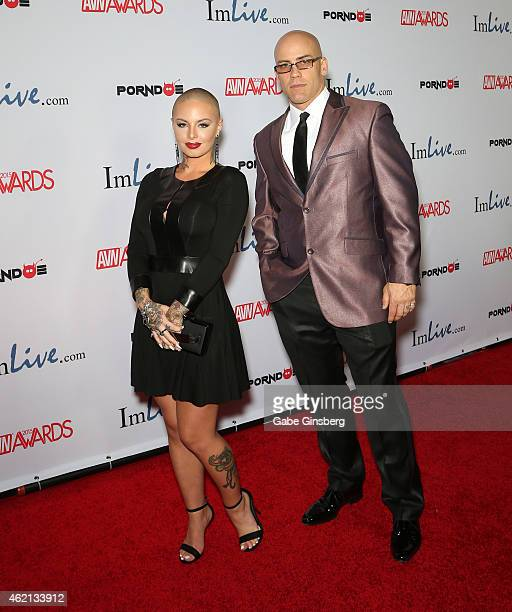 Adult film actors Christy Mack and Derrick Pierce arrive at the 2015 Adult Video News Awards at the Hard Rock Hotel Casino on January 24 2015 in Las...