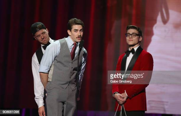 Adult film actors JJ Knight Jack Hunter and Blake Mitchell present an award during the 2018 GayVN Awards show at The Joint inside the Hard Rock Hotel...
