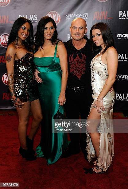 Adult film actors Kapri Styles Raylene Ethan Hawk and Ann Marie Rios arrive at the 27th annual Adult Video News Awards Show at the Palms Casino...