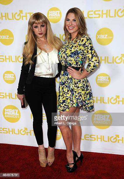 Adult film actors Lexi Belle and Gretta Francis arrive for the 2014 XBIZ Awards held at The Hyatt Regency Century Plaza Hotel on January 24, 2014 in...