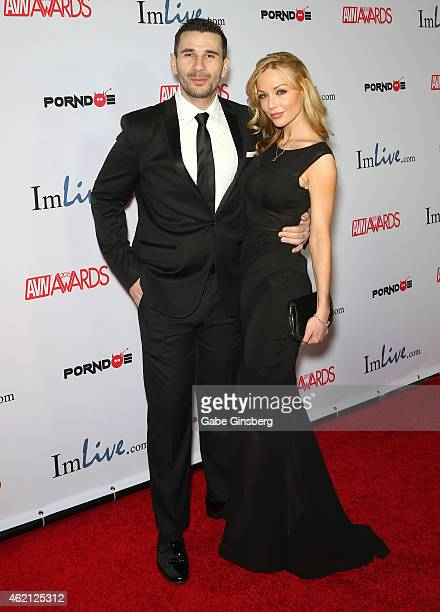 Adult film actors Manuel Ferrara and his fiance Kayden Kross arrive at the 2015 Adult Video News Awards at the Hard Rock Hotel Casino on January 24...