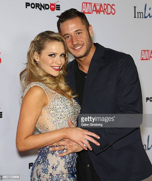 Adult film actors Mia Malkova and her husband Danny Mountain arrive at the 2015 Adult Video News Awards at the Hard Rock Hotel Casino on January 24...