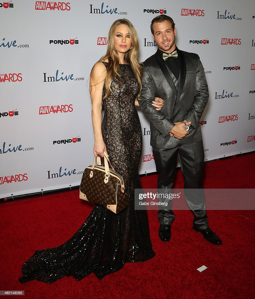 Adult film actors Nicole Aniston (L) and Chad White arrive at the 2015 Adult Video News Awards at the Hard Rock Hotel & Casino on January 24, 2015 in Las Vegas, Nevada.
