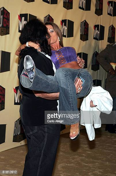 Adult film actors Ron Jeremy and Tabitha Stevens attend the VH1 Big in '04 at the Shrine Auditorium December 1 2004 in Los Angeles California