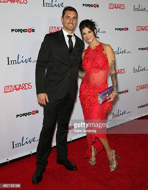 Adult film actors Ryan Driller and Bonnie Rotten arrive at the 2015 Adult Video News Awards at the Hard Rock Hotel Casino on January 24 2015 in Las...