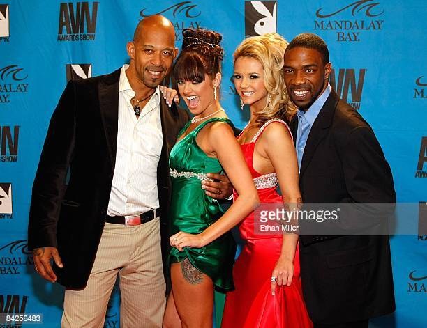 Adult film actors Shane Diesel Sadie West Ashlynn Brooke and Bose arrive at the 26th annual Adult Video News Awards Show at the Mandalay Bay Events...