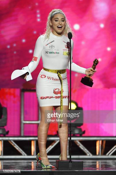 Adult film actress Abella Danger accepts the award for Most Epic Ass during the 2020 Adult Video News Awards at The Joint inside the Hard Rock Hotel...