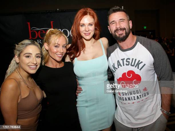 Adult film actress Abella Danger adult film director/actress Kayden Kross actress Maitland Ward and adult film actor/director Manuel Ferrara pose at...