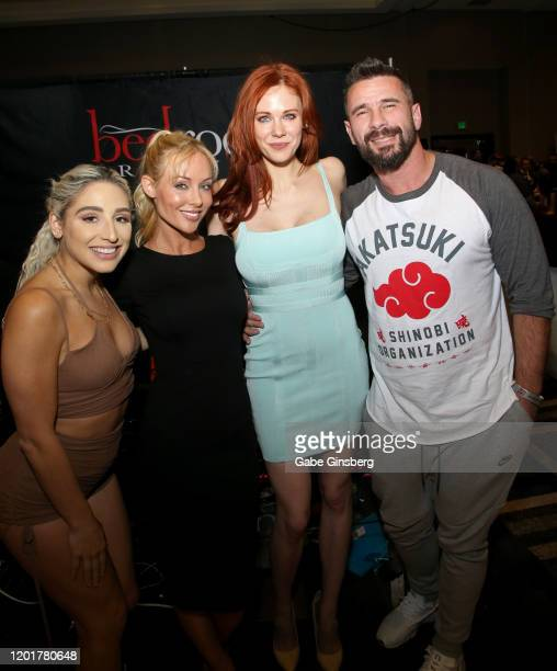 Adult film actress Abella Danger, adult film director/actress Kayden Kross, actress Maitland Ward and adult film actor/director Manuel Ferrara pose...