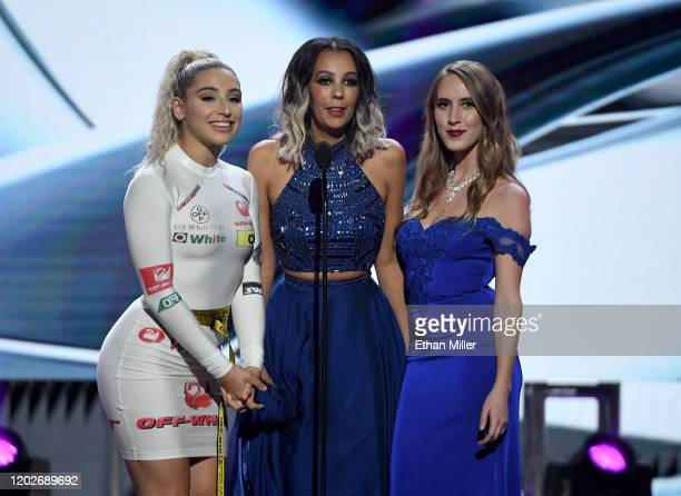 Adult film actress Abella Danger dominatrix Princess Mindy Madison and adult film actress Cadence Lux present an award during the 2020 Adult Video...