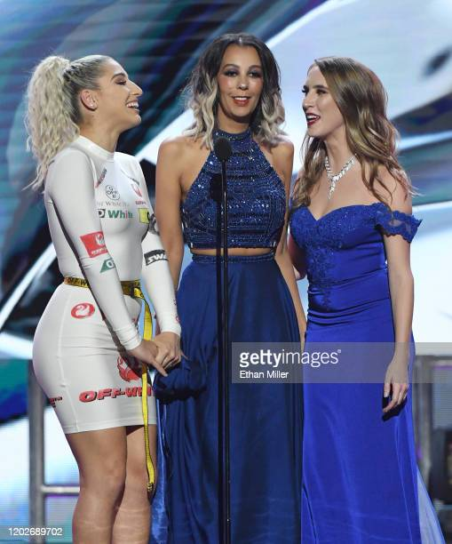 Adult film actress Abella Danger, dominatrix Princess Mindy Madison and adult film actress Cadence Lux present an award during the 2020 Adult Video...