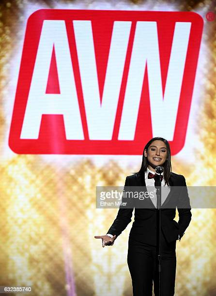 Adult film actress Abella Danger presents an award during the 2017 Adult Video News Awards at The Joint inside the Hard Rock Hotel & Casino on...