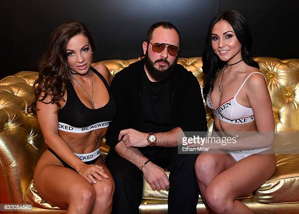 Adult film actress Abigail Mac adult film producer/director Greg Lansky and adult film actress Ariana Marie appear at Lansky's Blacked Tushy and...