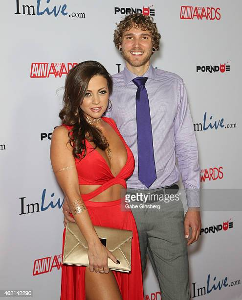 Adult film actress Abigail Mac and Zachary Kurtz arrive at the 2015 Adult Video News Awards at the Hard Rock Hotel Casino on January 24 2015 in Las...