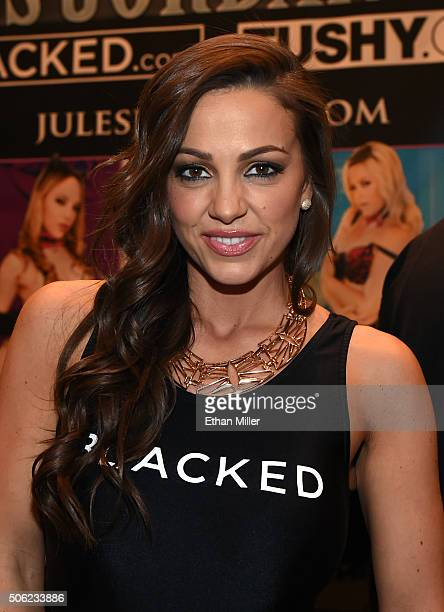 Adult film actress Abigail Mac poses at the Jules Jordan Video booth at the 2016 AVN Adult Entertainment Expo at the Hard Rock Hotel Casino on...