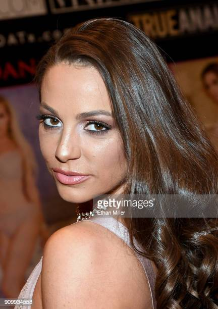 Adult film actress Abigail Mac poses at the Jules Jordan Video booth at the 2018 AVN Adult Entertainment Expo at the Hard Rock Hotel Casino on...