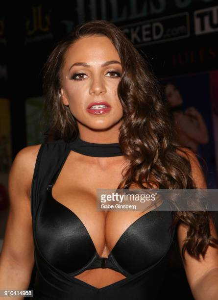 Adult film actress Abigail Mac poses at the Jules Jordan Video booth during the 2018 AVN Adult Expo at the Hard Rock Hotel Casino on January 25 2018...