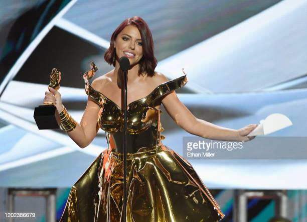 Adult film actress Adriana Chechik accepts the award for Best Oral Sex Scene during the 2020 Adult Video News Awards at The Joint inside the Hard...
