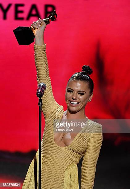 Adult film actress Adriana Chechik accepts the award for Female Performer of the Year during the 2017 Adult Video News Awards at The Joint inside the...
