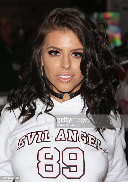 Adult film actress Adriana Chechik appears at the Evil Angel booth during the 2017 AVN Adult Entertainment Expo at the Hard Rock Hotel Casino on...