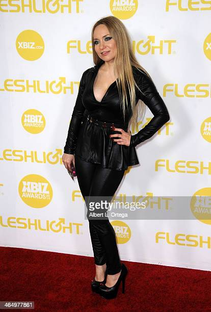 Adult film actress Aiden Starr arrives for the 2014 XBIZ Awards held at The Hyatt Regency Century Plaza Hotel on January 24 2014 in Century City...