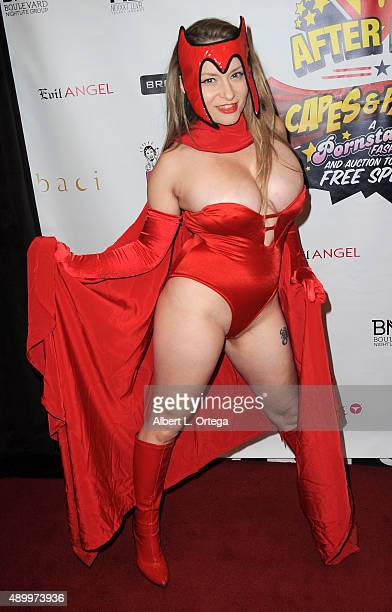 Adult film actress Aiden Starr as Scarlet Witch at FSC After Dark 'Capes Panties' A Superhero Costume Lingerie Auction and Silent Auction to Benefit...