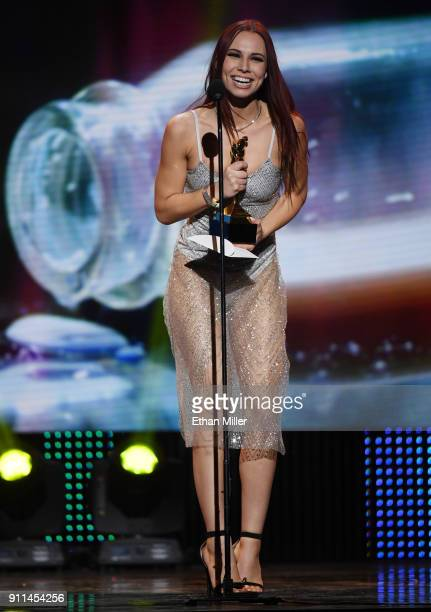 Adult film actress Aidra Fox accepts an award during the 2018 Adult Video News Awards at The Joint inside the Hard Rock Hotel Casino on January 27...