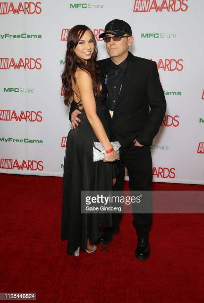 Adult film actress Aidra Fox and adult film actor Ray Dark attend the 2019 Adult Video News Awards at The Joint inside the Hard Rock Hotel Casino on...