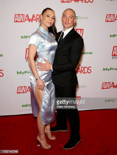 Adult film actress Aidra Fox and adult film actor Zac Wild attend the 2020 Adult Video News Awards at The Joint inside the Hard Rock Hotel Casino on...