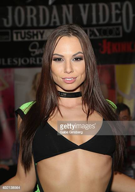 Adult film actress Aidra Fox appears at the Jules Jordan booth during the 2017 AVN Adult Entertainment Expo at the Hard Rock Hotel Casino on January...