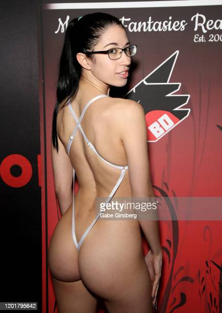 Adult film actress Alex Coal poses at the Bad Dragon booth during the 2020 AVN Adult Expo at the Hard Rock Hotel Casino on January 24 2020 in Las...