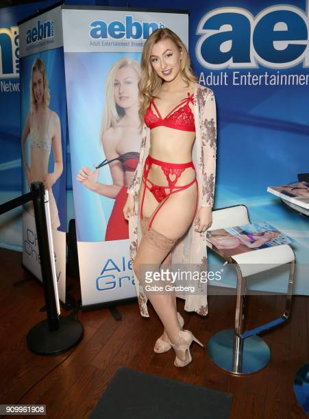 Adult film actress Alexa Grace poses at the Adult Entertainment Broadcast Network booth at the 2018 AVN Adult Entertainment Expo at The Joint inside...