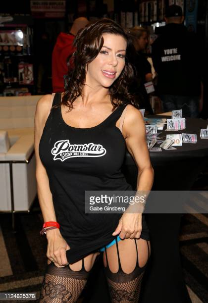 Adult film actress Alexis Fawx poses in the Pornstar Signature series booth at the 2019 AVN Adult Entertainment Expo at the Hard Rock Hotel Casino on...