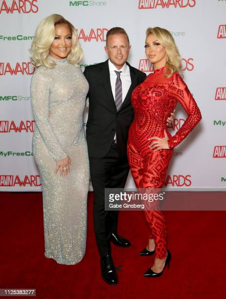 Adult film actress Alexis Texas adult film producer/director Jules Jordan and adult film actress Nikki Benz attend2 the 2019 Adult Video News Awards...