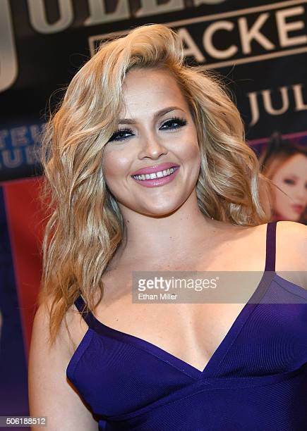 Adult film actress Alexis Texas poses at the Jules Jordan Video booth at the 2016 AVN Adult Entertainment Expo at the Hard Rock Hotel Casino on...