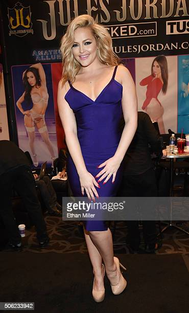 Adult film actress Alexis Texas poses at the Jules Jordan Video booth at the 2016 AVN Adult Entertainment Expo at the Hard Rock Hotel & Casino on...