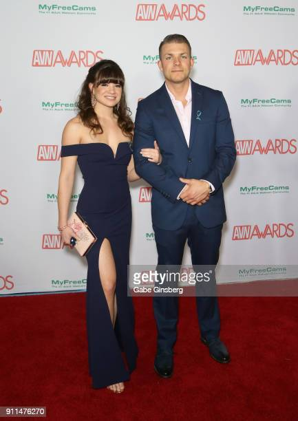 Adult film actress Alison Rey and adult film actor Codey Steele attend the 2018 Adult Video News Awards at the Hard Rock Hotel Casino on January 27...