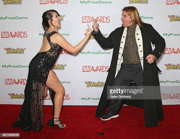 Adult film actress Allie Haze and adult film actor Evan Stone joke around as they attend the 2017 Adult Video News Awards at the Hard Rock Hotel...