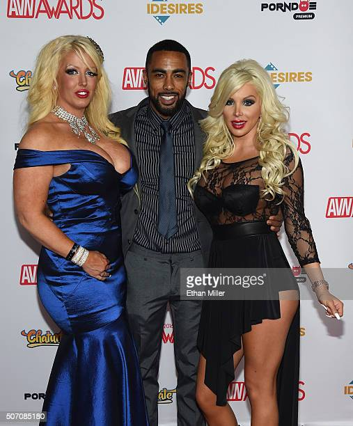 Adult film actress Alura Jenson adult film actor Stallion Strong and adult film actress Savannah Stevens attend the 2016 Adult Video News Awards at...