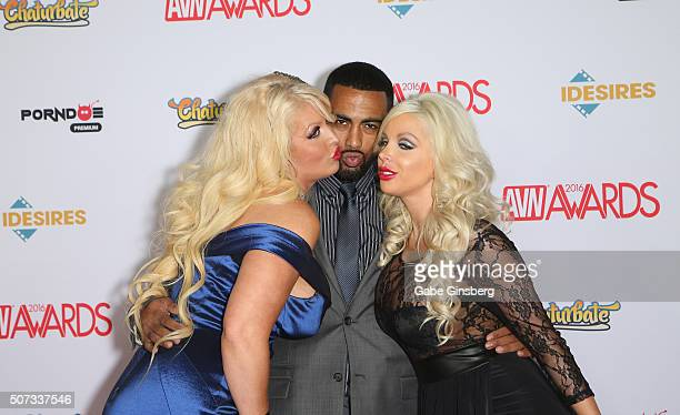 Adult film actress Alura Jenson, adult film actor Stallion Strong and adult film actress Savannah Stevens attend the 2016 Adult Video News Awards at...