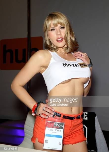 Adult film actress Amber Chase poses in the Model Hub booth during the 2019 AVN Adult Entertainment Expo at the Hard Rock Hotel Casino on January 23...
