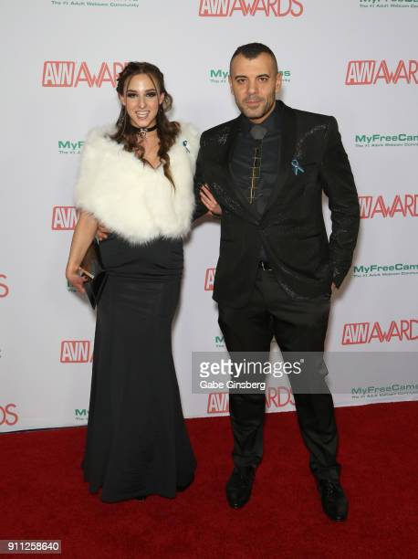 Adult film actress Amirah Adara and adult film actor Antonio Ross attend the 2018 Adult Video News Awards at the Hard Rock Hotel Casino on January 27...