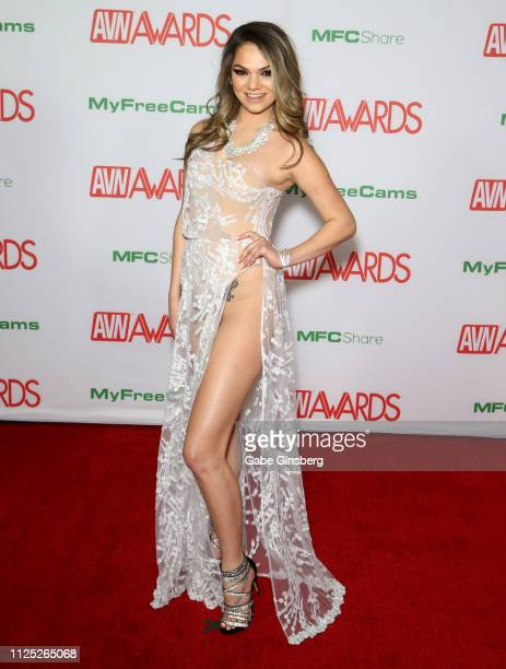 Adult film actress and 2019 AVN Awards Trophy Girl Athena Faris attends the 2019 Adult Video News Awards at The Joint inside the Hard Rock Hotel...