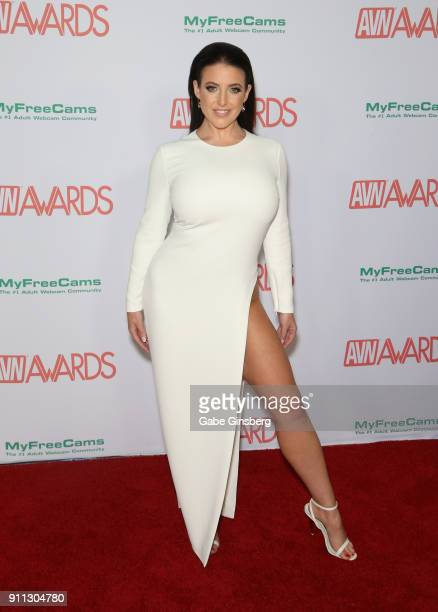Adult film actress and cohost Angela White attends the 2018 Adult Video News Awards at the Hard Rock Hotel Casino on January 27 2018 in Las Vegas...