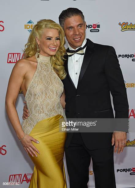 Adult film actress and cohost Anikka Albrite and her husband adult film actor/director Mick Blue attend the 2016 Adult Video News Awards at the Hard...