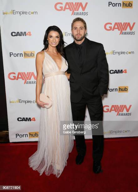 Adult film actress and comedian Silvia Saige and adult film actor Wesley Woods attend the 2018 GayVN Awards show at The Joint inside the Hard Rock...
