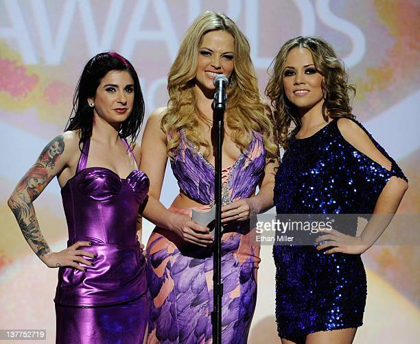 Adult film actress and director Joanna Angel and adult film actresses Alexis Texas and Kristina Rose present an award during the 29th annual Adult...