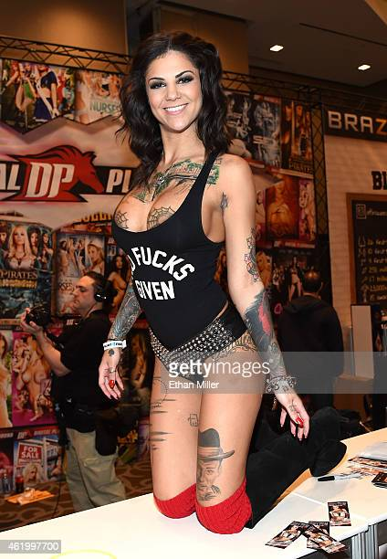 Adult film actress and model Bonnie Rotten poses at the Digital Playground booth at the 2015 AVN Adult Entertainment Expo at the Hard Rock Hotel &...