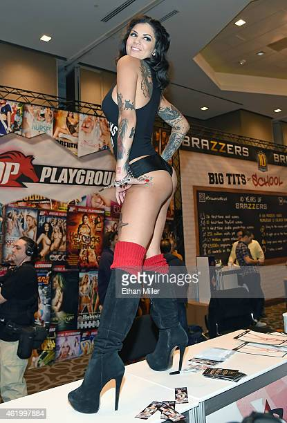 Adult film actress and model Bonnie Rotten poses at the Digital Playground booth at the 2015 AVN Adult Entertainment Expo at the Hard Rock Hotel...